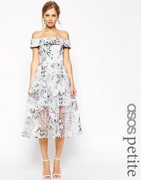Vestido a media pierna con cuello bardot con organza con diseño floral SALON de ASOS PETITE
