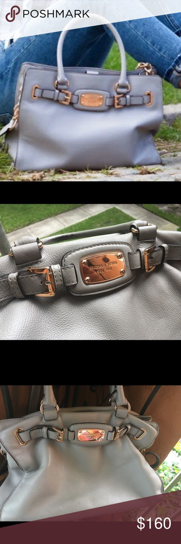 Michael Kors Hamilton handbag Authentic MK handbag in great condition! Gray leather bag with rose gold hardware. Measures 14in W and 10in H. Very soft leather bag in a beautiful gray neutral. Gently used and some makeup marks on the interior. Comes from a smoke-free home. Michael Kors Bags Shoulder Bags