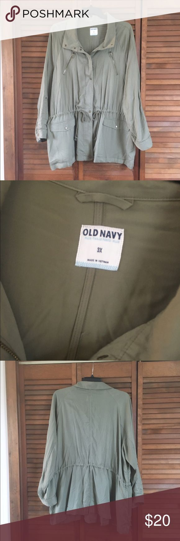 Khaki green utility jacket Worn once, loose fit khaki green utility jacket. Super trendy. Sleeves can be worn up or down Old Navy Jackets & Coats Utility Jackets