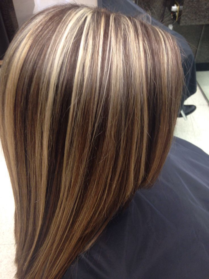 Brunette hair with blonde highlights.