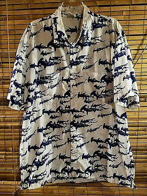 Rum Reggae Shirt Mens Shark Aloha Camp Men Size XL Button Shirt