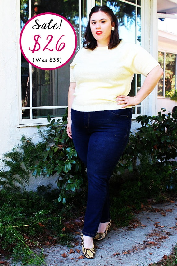 CLEARANCE  Plus Size  Vintage Pastel Yellow Short by TheCurvyElle, $26.00