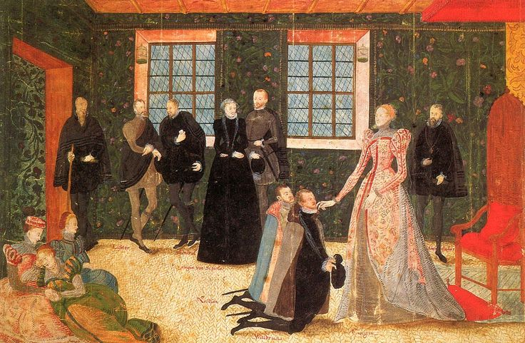 The walls are likely covered in painted leather or cloth, embroidered hangings or tapestries, since there appear to be edges or seams.  Queen Elizabeth Receiving Dutch Ambassadors, 1570-1575, Artist Unknown. Neue Galerie, Kassel, Germany.