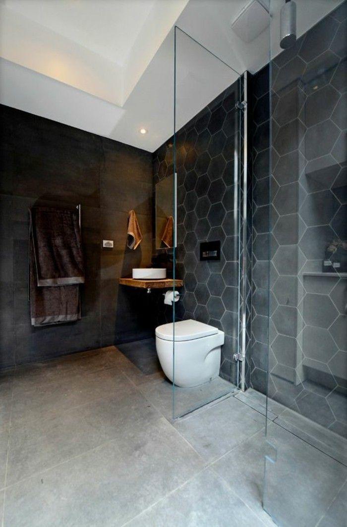 Carrelage Hexagonal Noir Pour Les Murs De Salle De Bains Badkamer Modern Badkamer Inrichting
