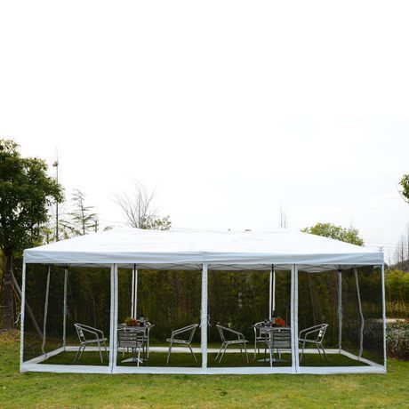 Outsunny 10x20ft Pop Up Party Tent With 6 Removable Mesh