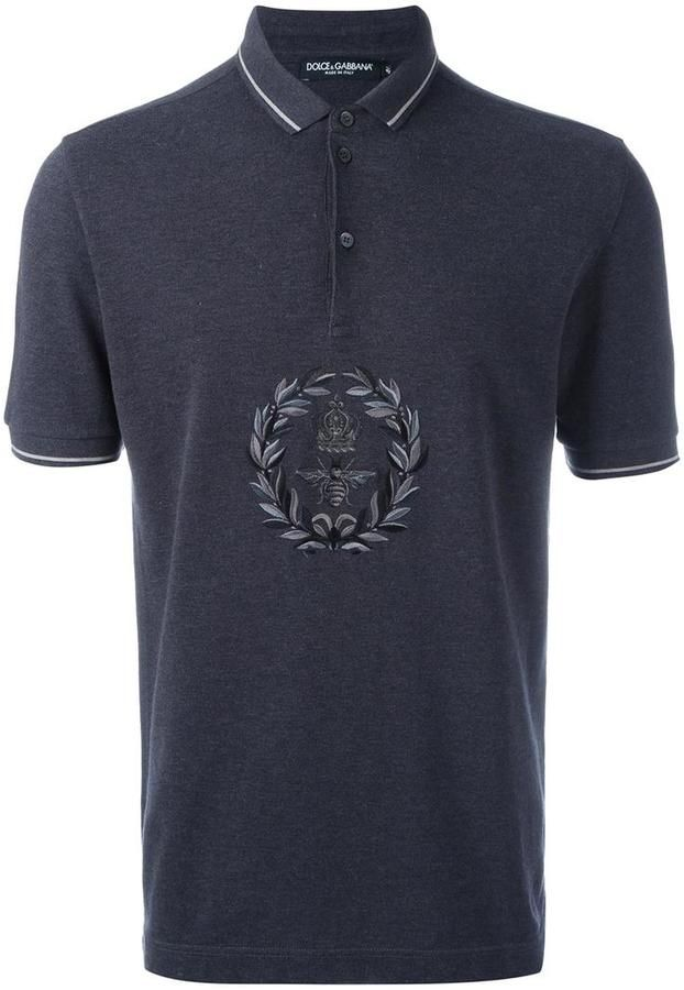 Dolce & Gabbana embroidered bee & crown polo shirt