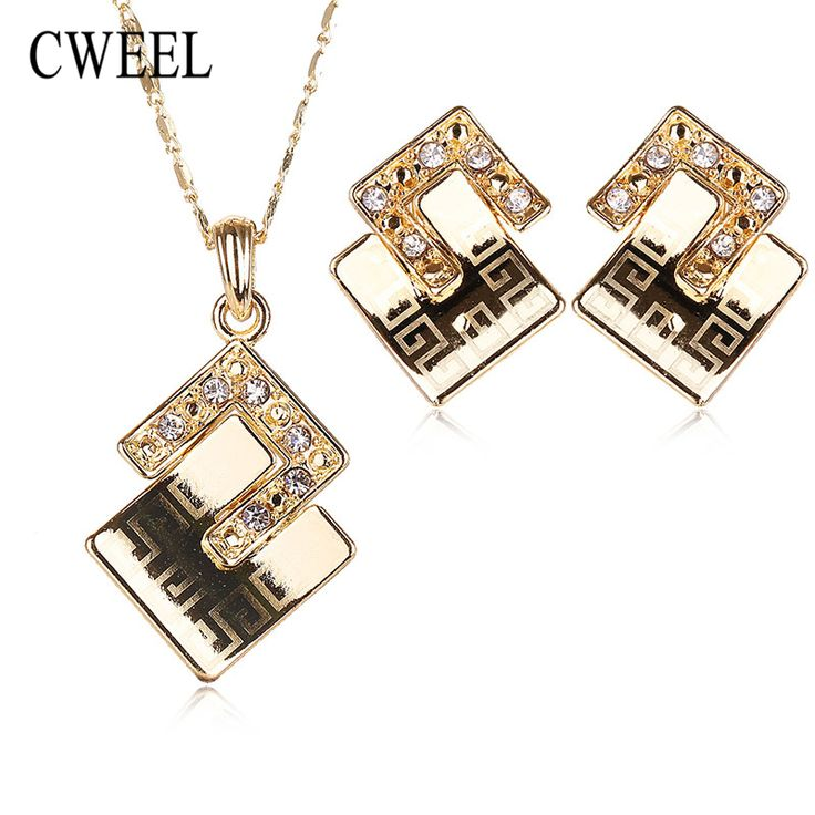 Jewelry Sets Piercing Pendant African Beads Fashion Necklace Earrings Gold Plated Imitated Crystal Wedding Bridal Accessories