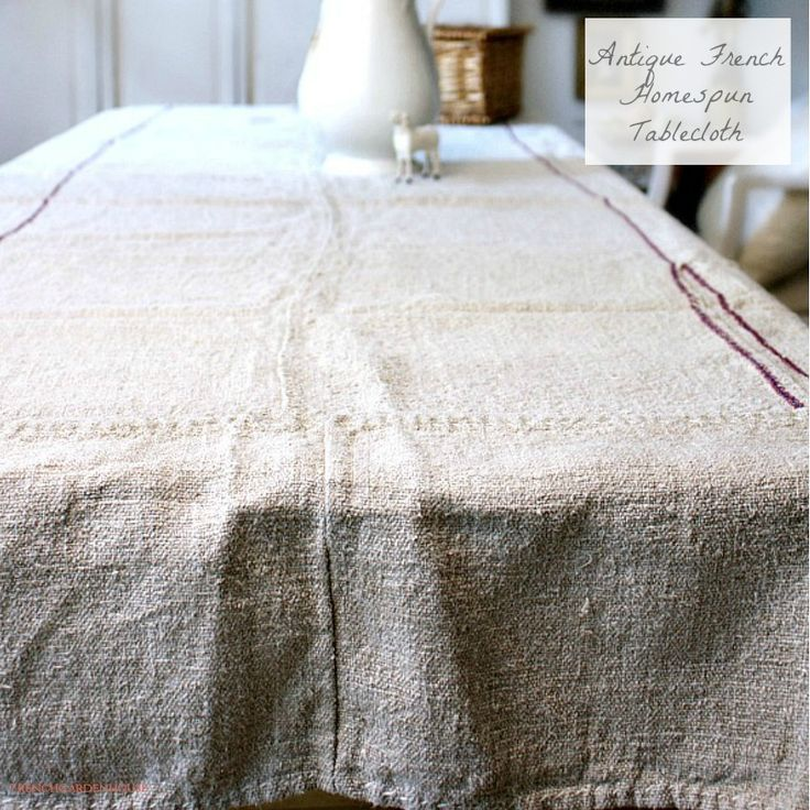 Antique French Country Hand Woven Linen Tablecloth Purple Stripes. # Frenchcountry #countryliving #farmhouse