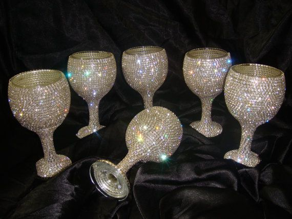Custom designed handmade set of wine glasses with Czech by Arzus, $249.70
