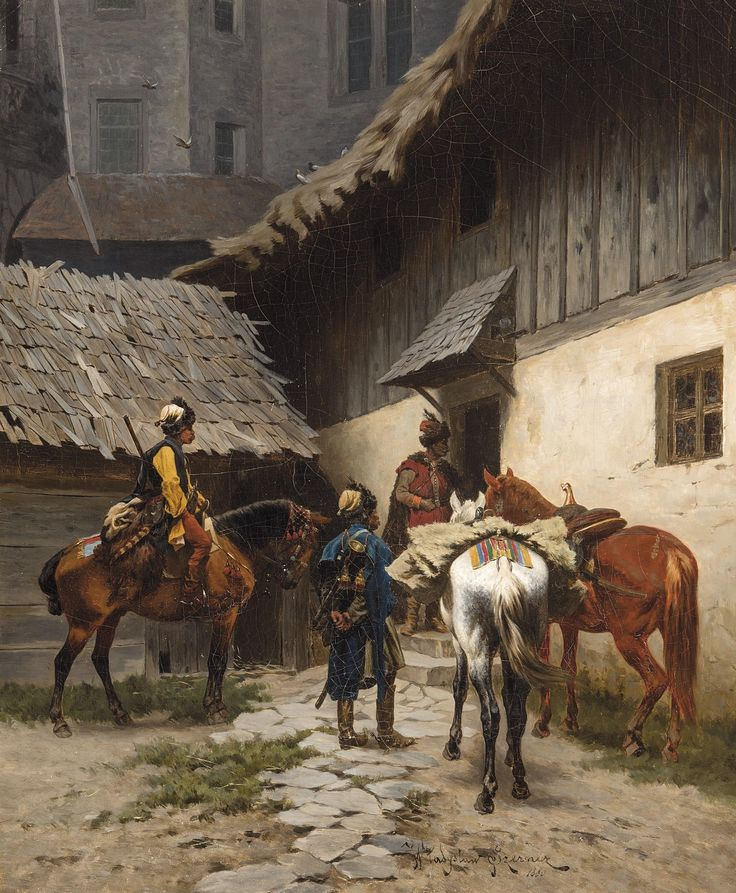Wladyslaw Szerner -  Aankomst van drie Poolse ruiters, 1880