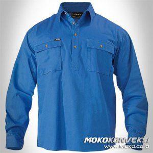 Jual Pakaian / Baju Kerja Wearpack PLN Atasan Lengan Panjang Polos Warna Biru