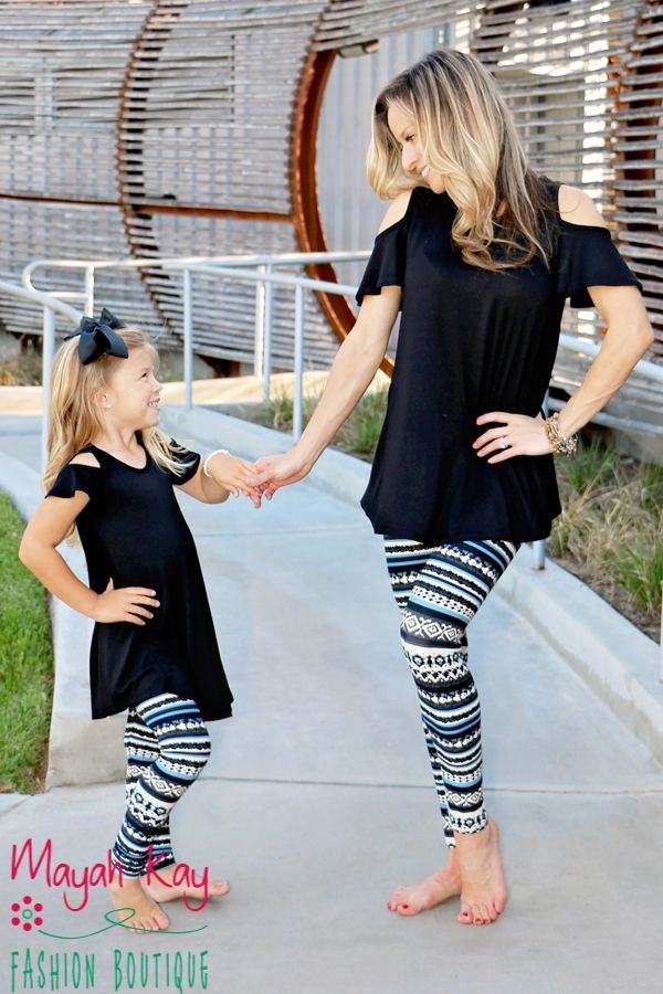 f84f7bc387f5dd Mommy & Me Blue and Black Geometric Leggings - Toddlers & Girls ...