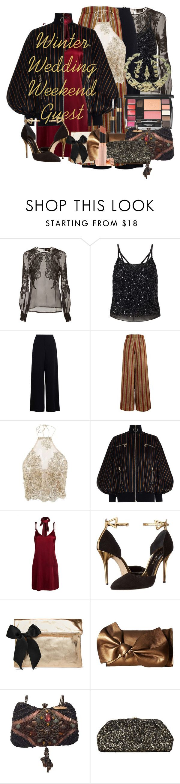 """Weekend Wedding Celebration"" by daincyng ❤ liked on Polyvore featuring J. Mendel, Miss Selfridge, Zimmermann, The Bee's Sneeze, WithChic, Oscar de la Renta, Clare V., French Connection, Mary Frances Accessories and John Lewis"