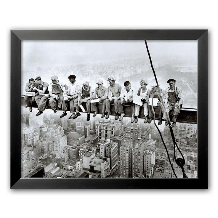 Art.com Lunch Atop a Skyscraper Framed Art Print by Charles C. Ebbets, White