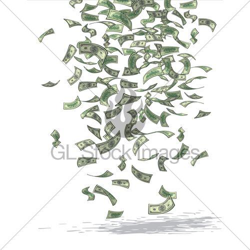 Vector Illustration Of Money Raining From Above.