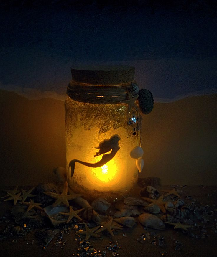 Mermaid Jar with glitter, nitghlight