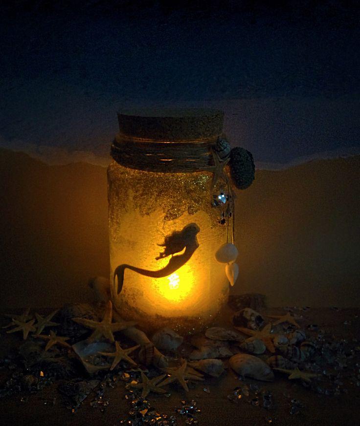 Mermaid Jar with glitter, nitghlight