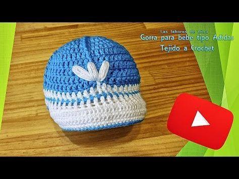 31c38df1d8bc9 Tutorial  Gorra para bebe tipo adidas de crochet - YouTube