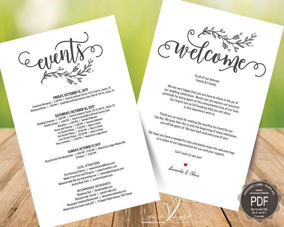 Wedding Welcome And Itinerary Card Editable Pdf Template Wedding Welcome Wedding Weekend Wedding Itinerary