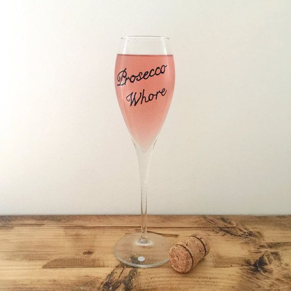 Prosecco Wh/ore hand painted tulip champagne glass. Mature