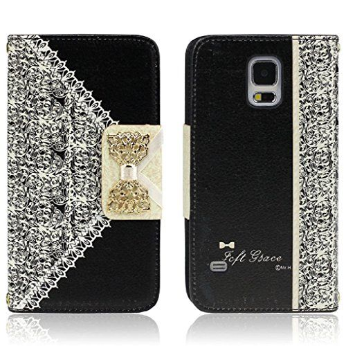 From 2.99:Ukamshop Cute Pink Lace Bow Flip Wallet Leather Case Cover (samsung Galaxy S5 Black)