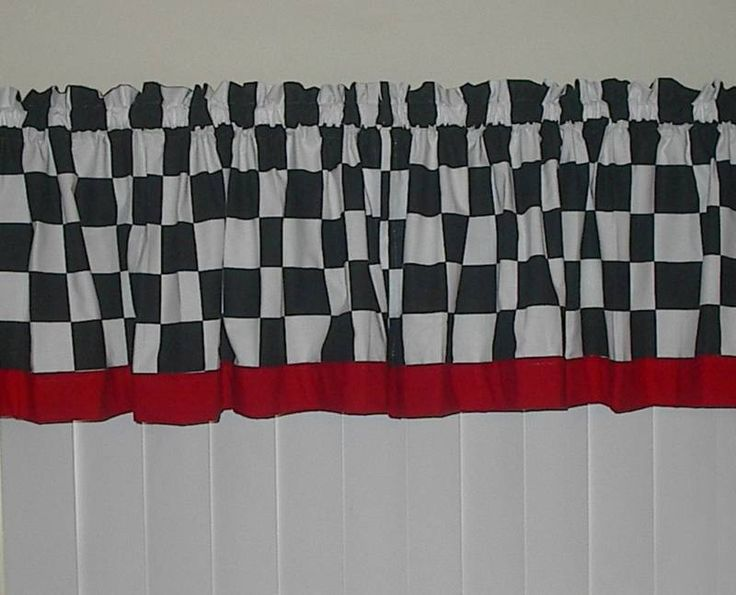Fat Chef Curtains Fat Chef Black White Checkered W Red