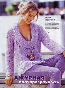 Пуловер с глубоким вырезом,связанный спицами