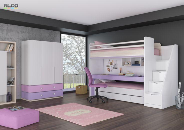 Patrová postel - dětský pokoj Flexi v nabídce odstínů   Nábytek Aldo