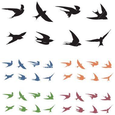 Best 25 small bird tattoos ideas on pinterest bird tattoos 8 swallow silhouettes with 5 color options black bird tattoosmall urmus Gallery
