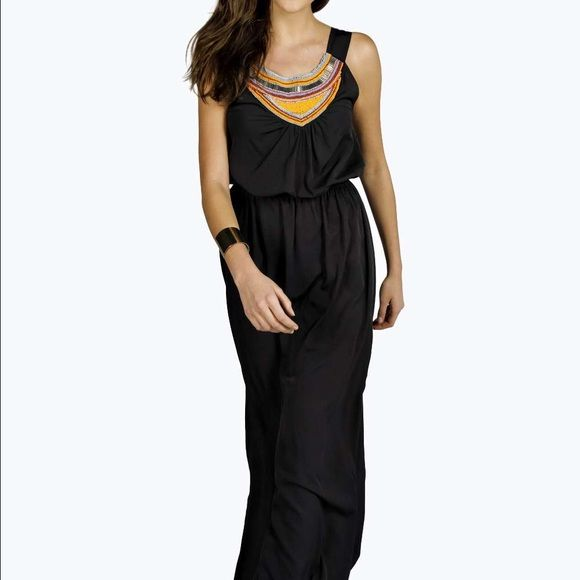 Black Aztec long dress Adorable dress .. Beaded top.. Waist can be adjusted to fit ..casual or dressy .. Love this dress Boohoo Dresses Maxi