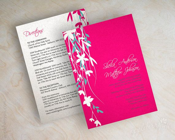 Fuchsia and turquoise wedding invitations, fuchsia wedding invitations, shimmer wedding invitation, turquoise wedding invitation, Davina by www.appleberryink.com