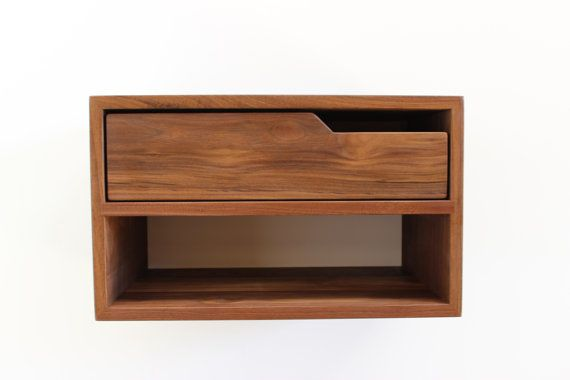 Floating Nightstand/Console with Shelf walnut by ImagoFurniture I like the idea of the floating nightstand