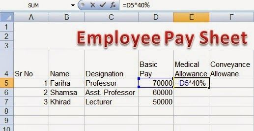 Employee pay sheet Formulas in MS Excel Perfect CoImputer Literacy - employee schedule excel spreadsheet