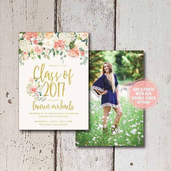 Rose Gold Floral - Graduation Invitation Photoshop Template - fresh graduation invitation maker online free