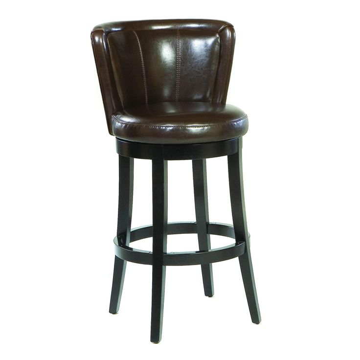 Armen Living Lisbon 30 in. Leather Swivel Bar Stool - Brown - LCMBS11SWBABR30