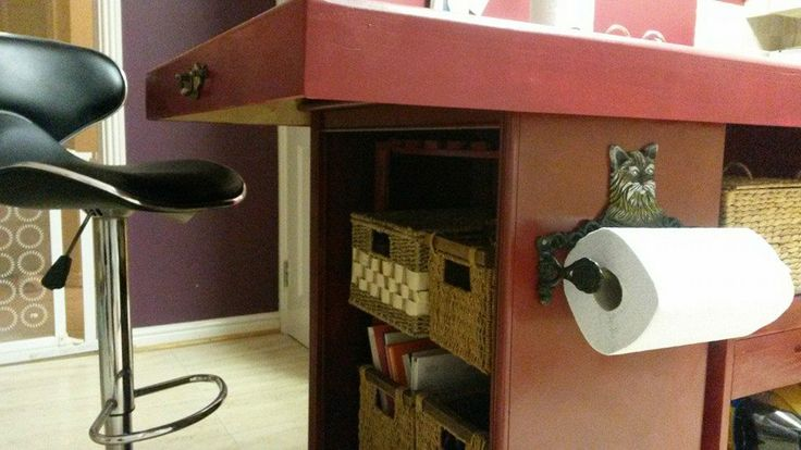 I made this kitchen island out of an old chest of drawers, a CD & DVD cabinate and a door, the overall cost was just under £120