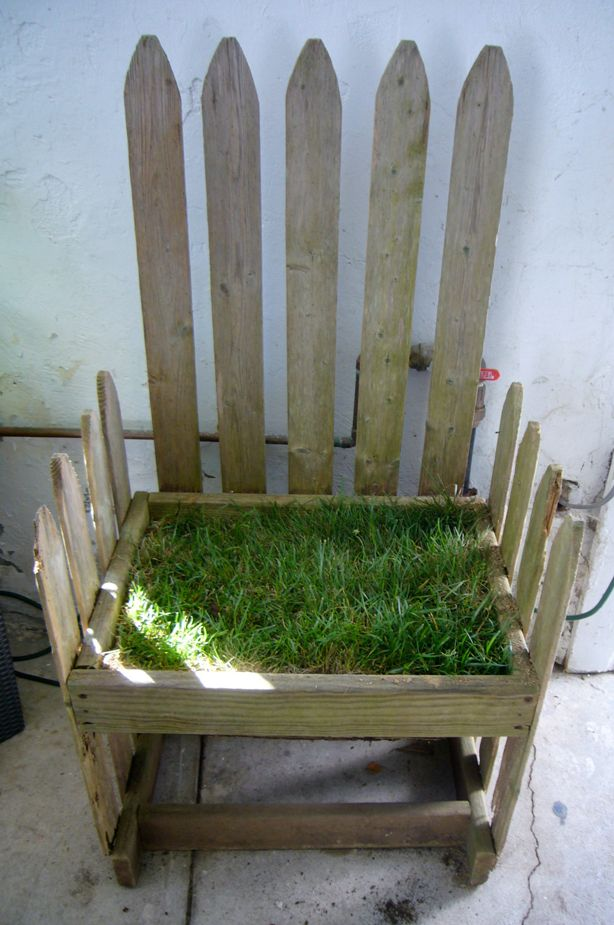 """Lawn Chair"" with sod seat..cute pun. For those times you want to sit in the grass and on a chair."