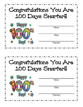 100th day of school kindergarten | 100TH DAY OF SCHOOL AWARD - TeachersPayTeachers.com