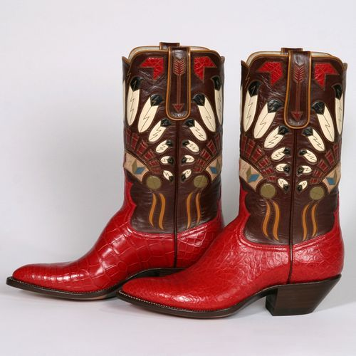 It can take up to a month for Lisa Sorrell to build a pair of her gorgeously crafted cowboy boots? Sorrell, who owns Custom Boots of Guthrie, Oklahoma, is an artist and craftswoman who enjoys designing and building distinctive, colorful boots with elaborate inlaid tops.