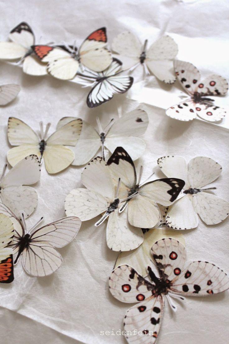 seidenfeins Dekoblog: DIY Sommerschmetterlinge aus Papier als Kranz * DIY paper summer butterflys on a wreath