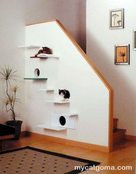 Modifications to Staircase Indulge Spoiled Kitties - cutouts and ledges accommodate curious, adventurous cats.  -LRE