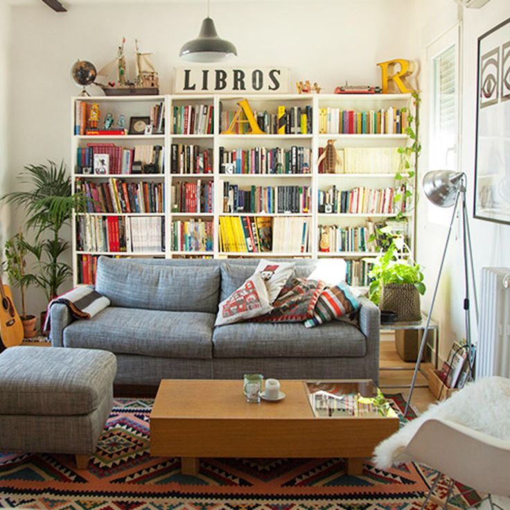 Find This Pin And More On Book Shelf Love By Staybookish Sunny And Colorful Living Room