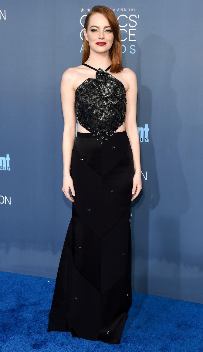 Critics Choice Awards 2016 Best Dressed Stars - - Emma Stone in a Roland Mouret dress