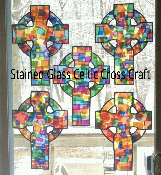 Stained Glass Celtic Cross Craft for St. Patrick's Day. Supplies needed: 1. Square colored tissue paper pieces 2. Permanent black marker 3. Contact paper 4. Scissors ... We did this craft with 25 students ranging from ages 3-12. They turned out fantastic!