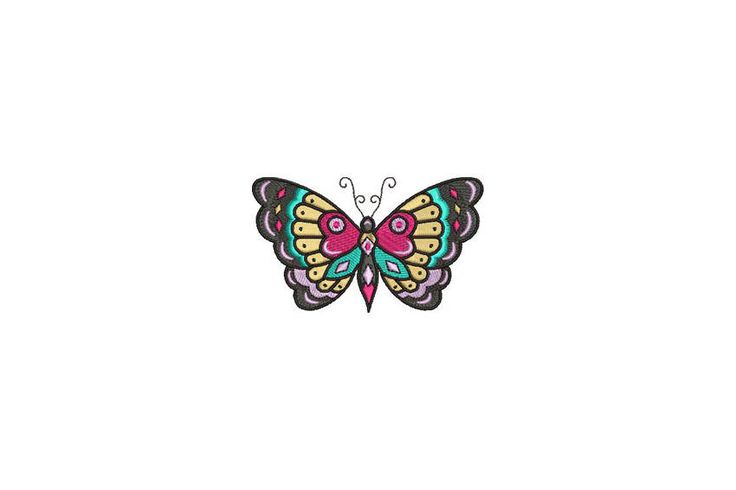 Butterfly Machine Embroidery File design 4x4 inch hoop - Retro  Tattoo by Oopsidaisi on Etsy https://www.etsy.com/au/listing/534171926/butterfly-machine-embroidery-file-design