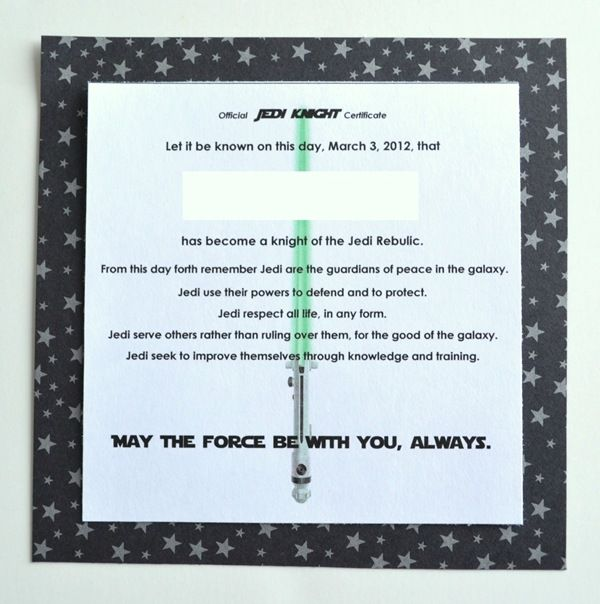 17 best images about star wars on pinterest star wars jedi star wars party and jedi robe for Jedi knight certificate