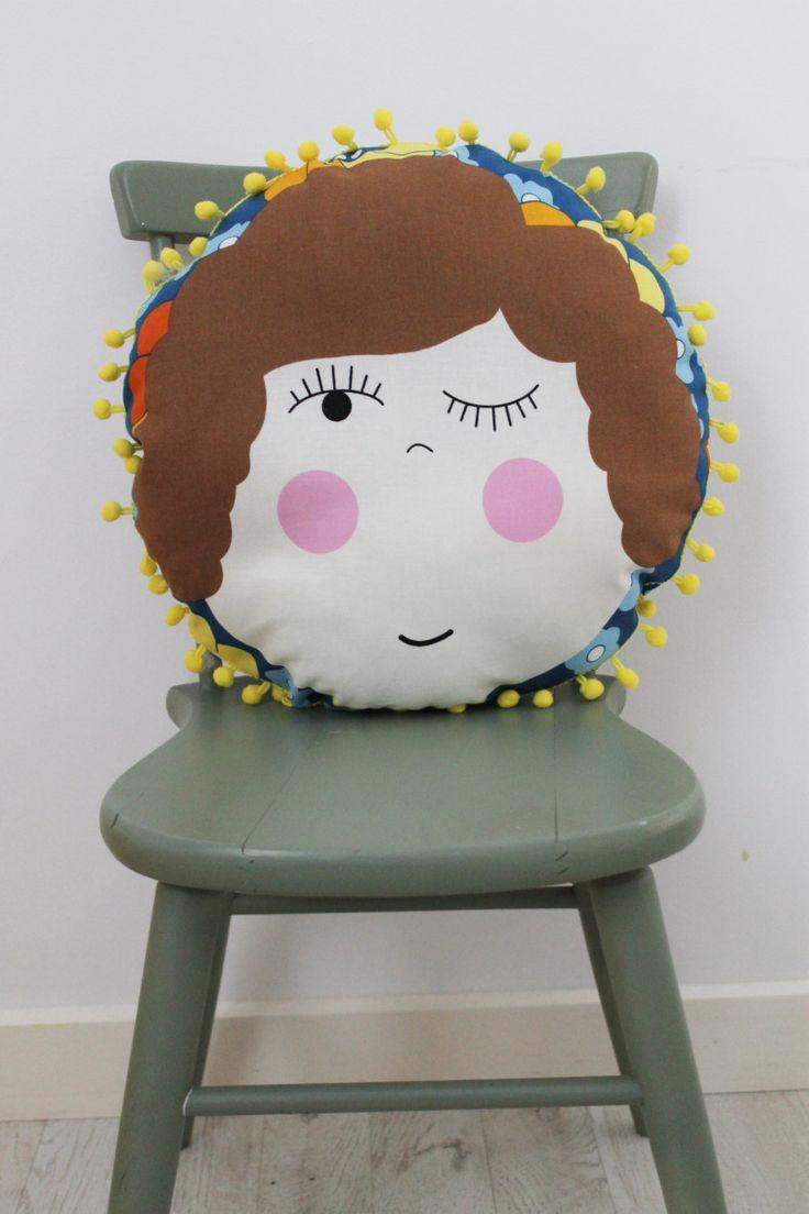 Maude Circular Cushion with Pom Pom Trim by HullabalooKids on Etsy
