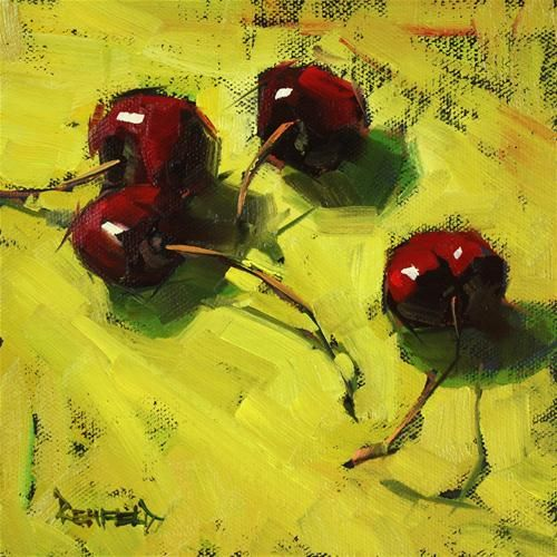 red cherries with an angular perspective: Oil Paintings, Art Inspiration, Art Food, Dark Cherries, Cathleen Rehfeld, Daily Paintworks, Artist, Www Oilpaintingsofindia Com