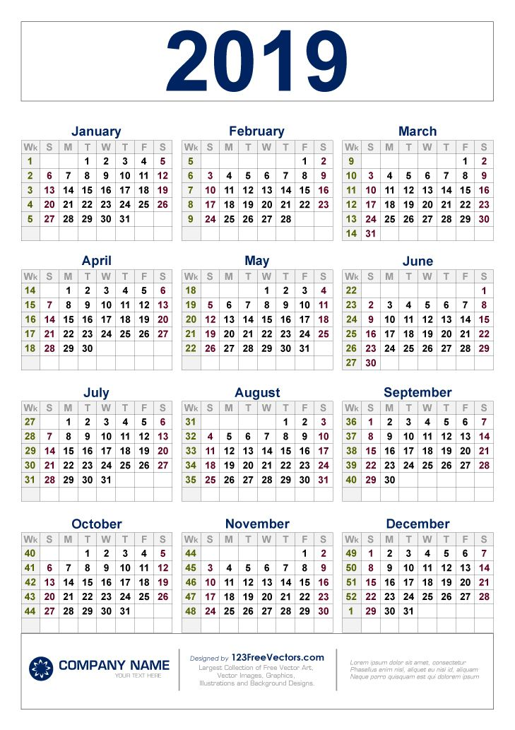 Calendar 2019 With Weeks Free Download 2019 Calendar with Week Numbers | 2019 Calendar