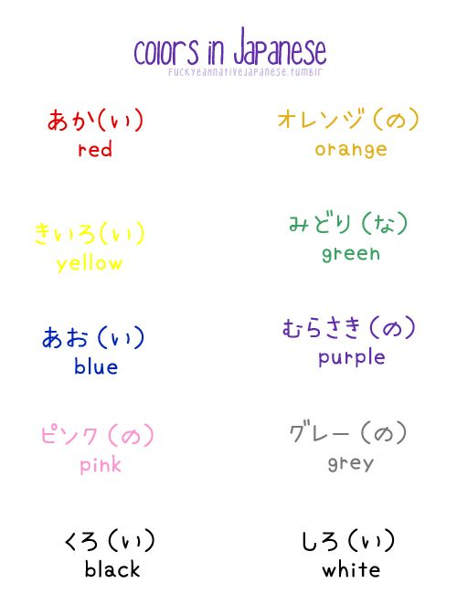 """Japanese colors ""The difference between Japanese colors and English colors is there is a noun and an ""adjective"" for each. The noun is before the ( ). To turn it into an..."